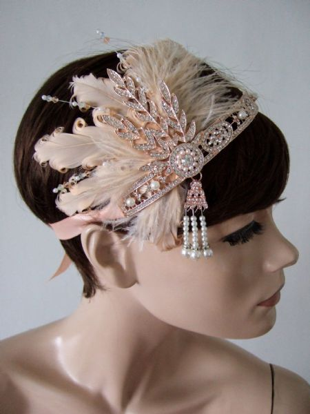 "Peach Rose Gold Goose + Ostrich Feathers Crystal Headband 1920's Art Deco Gatsby Flapper ""Dora"""